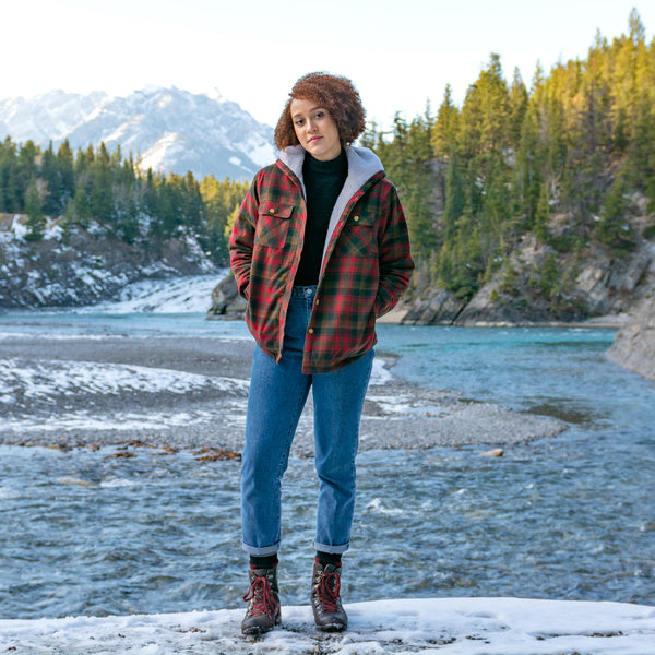 Flannel Sherpa Hooded Jacket in Maple Leaf Tartan