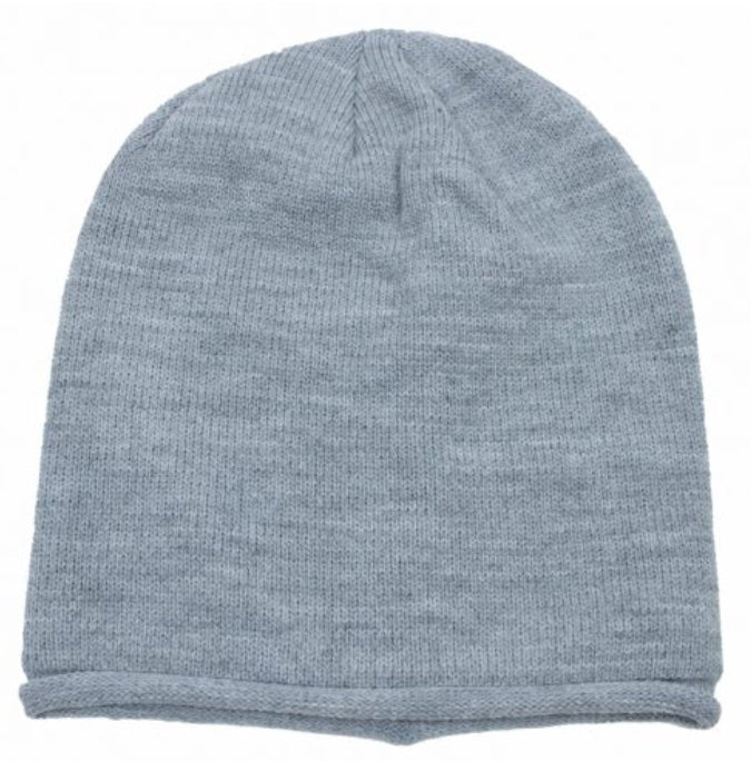 Simple Knit Slouchy Toque in Light Grey