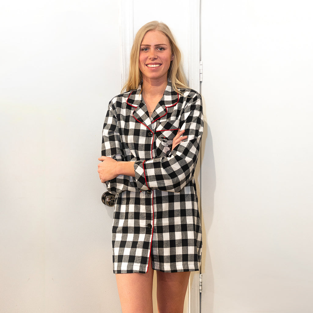 105 / Woman's Classic Flannel Nightshirt / Large Black Check with Loon