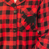 Classic Nightshirt in Red Buffalo Check with Bear Logo