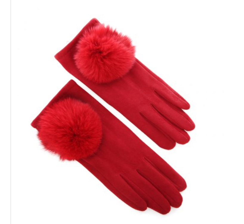 Ladies Winter Gloves in Red with Pompom