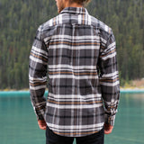 Men's 9 Ounce Brawny Flannel Shirt in Grey Plaid.