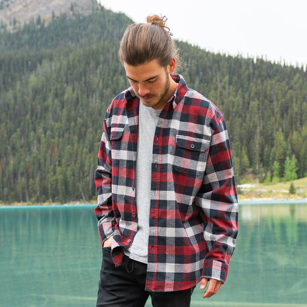 Men's 9 Ounce Brawny Flannel Shirt in Red/Grey/Black Buffalo Check