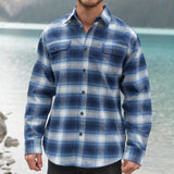 Men's 9 Ounce Brawny Flannel Shirt in Blue/White Plaid.