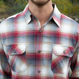 Mens Flannel Shirt in Red Khaki