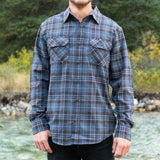 Men's Flannel Shirt in Blue Brown Plaid