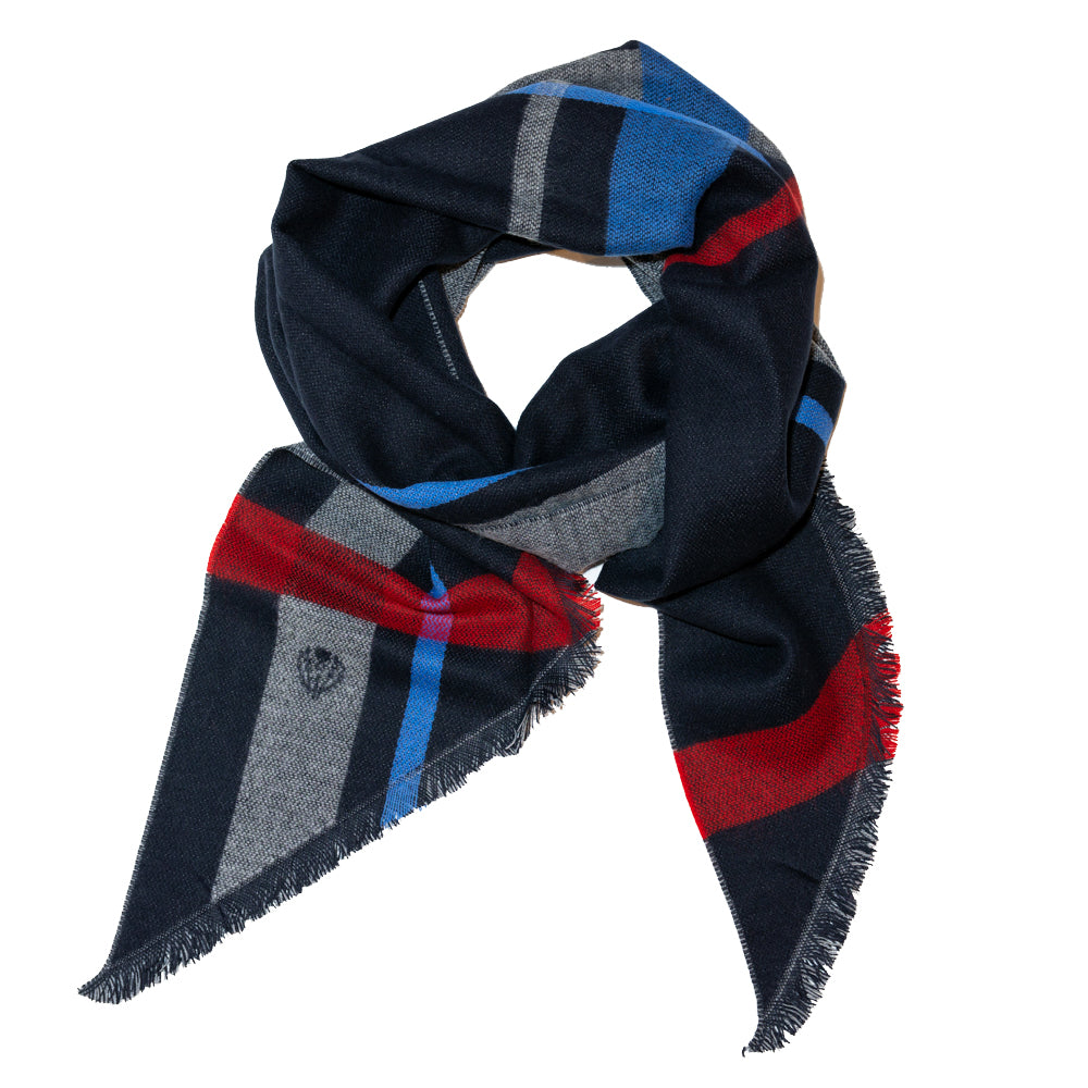 Scarf Dark Navy with Grey LT Blue Stripe