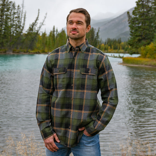 412 Army Green Mens Flannel Shirt