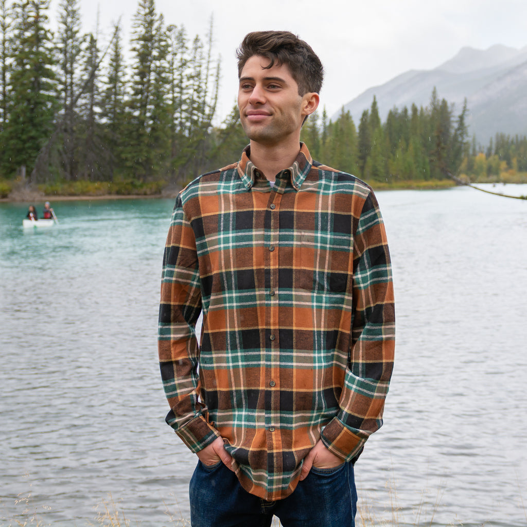 812 Green with Brown Mens Flannel Shirt