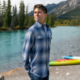 412 Blue Grey Men's Flannel Shirt