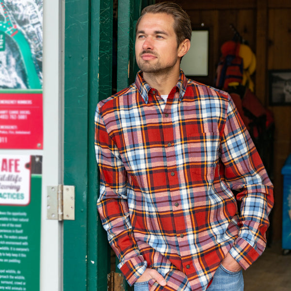 812 Brick & Wedgewood Blue Mens Flannel Shirt