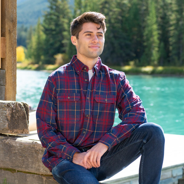 412 Men's Flannel Shirt in Burgundy Navy