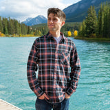 912 Dark Teal with Coral Accent Mens Flannel Shirt