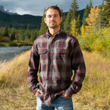 412 Burgundy Grey Men's Flannel Shirt