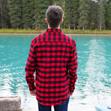 712 Mens L/S 2 Bias Pocket in Red & Black Buffalo Check