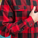 412 Herringbone Weave Red Black Check