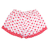 Shorts in Coral Hearts with Polka Dot Print