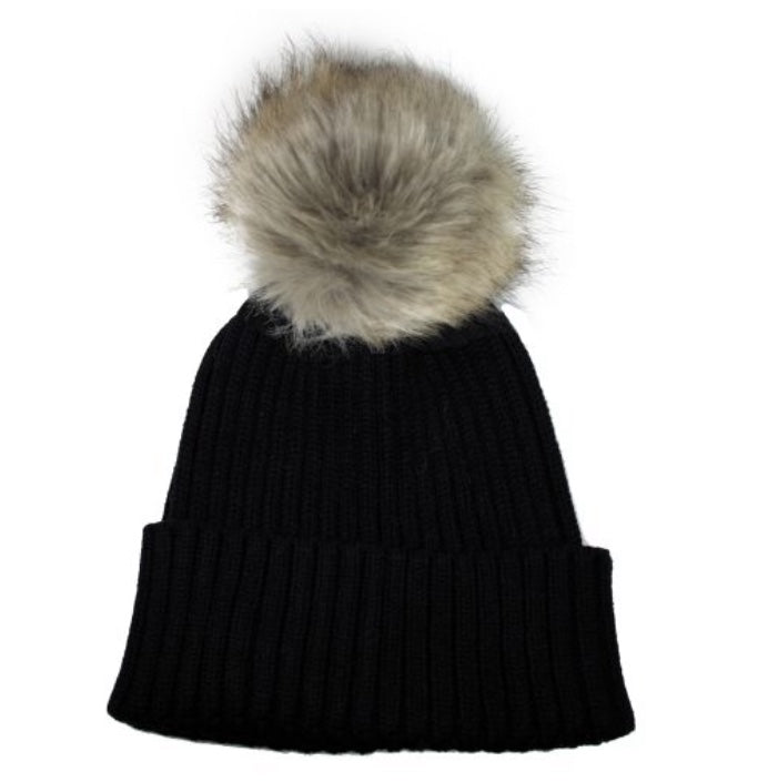 Toque with Faux Fur Pompom in Black