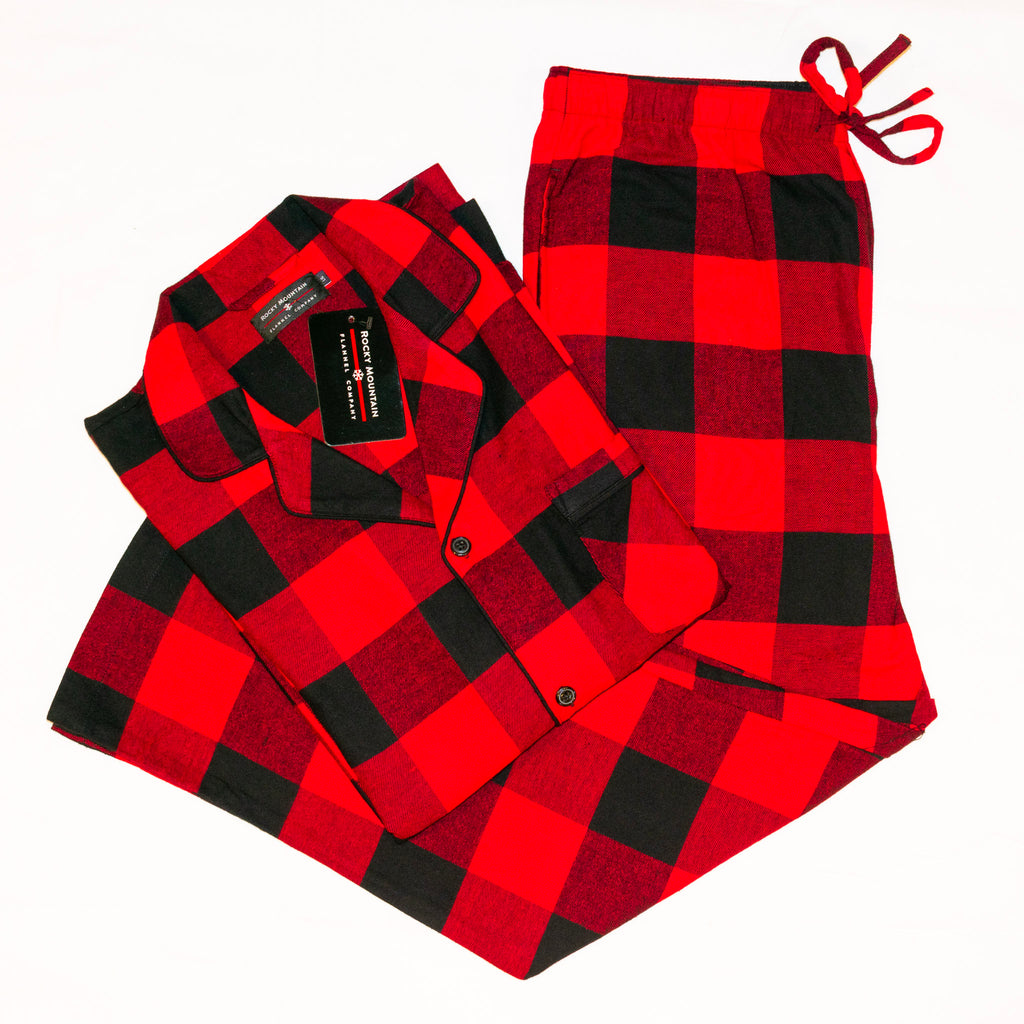 Mens 2pc. Flannel Pyjama / Red and Black Buffalo Check