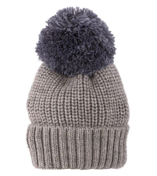 Knit Toque with contrasting Pompom in Grey Blue