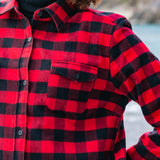 600 Woman's Button Shirt Red Black Buffalo Check