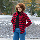 612 Woman's Snap Flannel Shirt in Red Black Buffalo Check