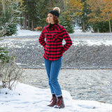 612 Red Black Snap Ladies Flannel Shirt