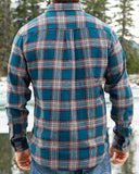812 Teal and Grey with Orange Accent Men's Flannel Shirt