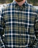 812 Olive with Navy Mens Flannel Shirt
