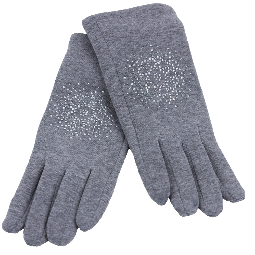 Light Grey Glitter Ladies Winter Gloves
