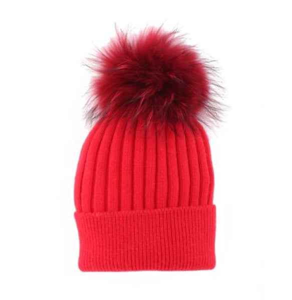 Real Fur Pompom Ribbed Knit Toque in Red
