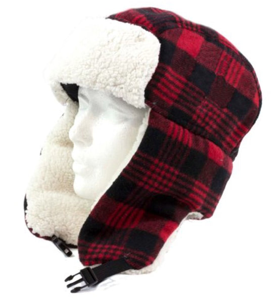 Red Buffalo Check Trapper Hat