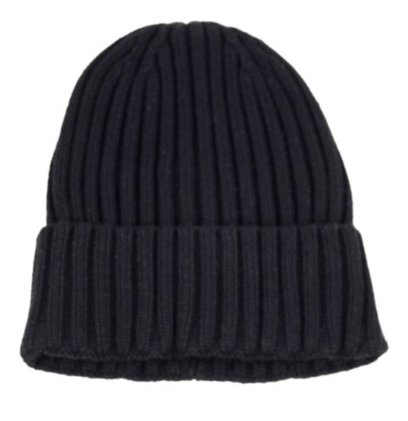 Ribbed Knit Toque in Black
