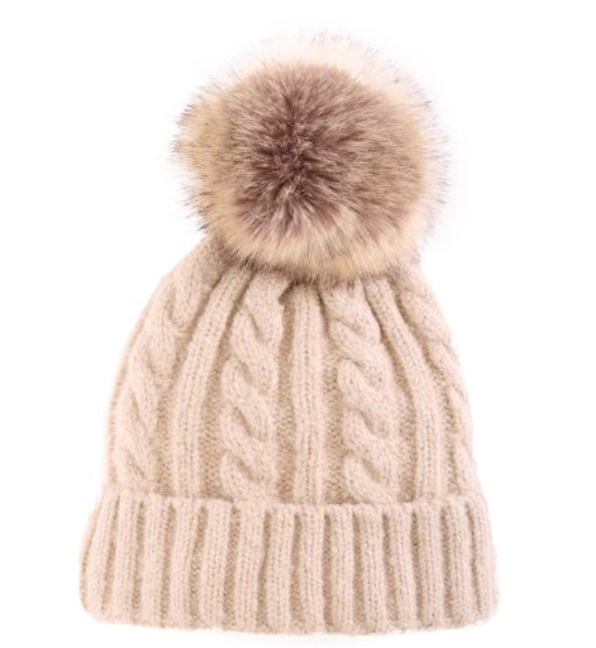 Ribbed Knit PomPom Toque in Taupe
