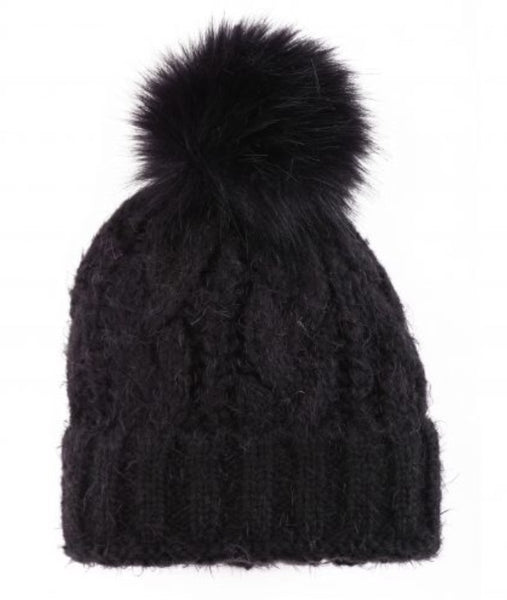 Cable Knit PomPom Toque in Black