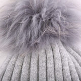 Real Fur Pompom Ribbed Knit Toque in Light Grey