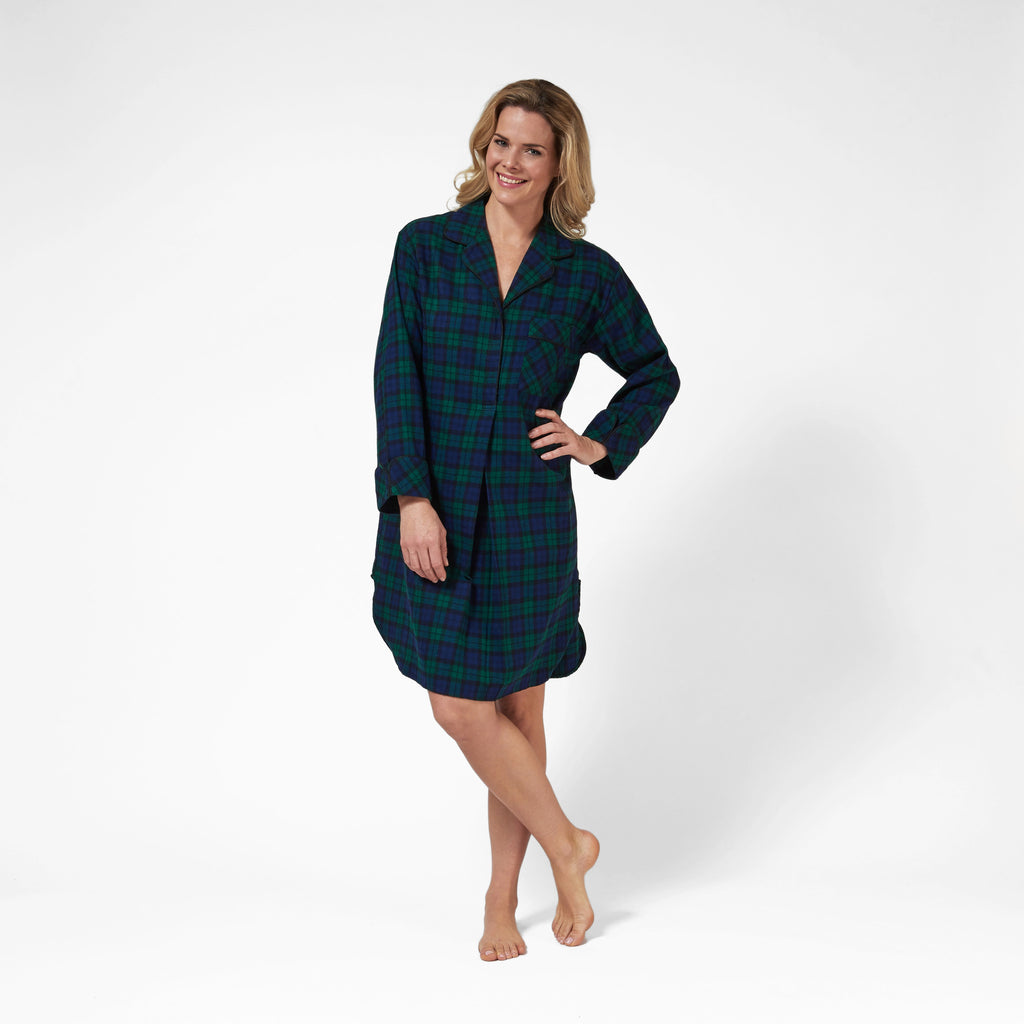 Rocky Mountain Flannel Flannel Knee Length Nighshirt with Black Braid Cord in Black Watch Front View