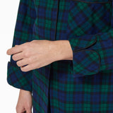 Rocky Mountain Flannel Flannel Knee Length Nighshirt with Black Braid Cord in Black Watch Cuff Sleeve View