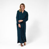 Rocky Mountain Flannel Long Flannel Nightshirt in Black Watch Front View