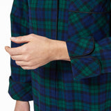 Rocky Mountain Flannel Long Flannel Nightshirt in Black Watch Cuff Sleeve View