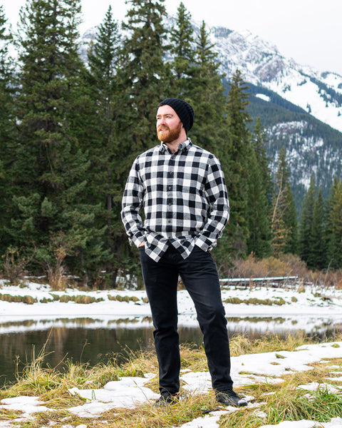 812 Black and White Buffalo Check Men's Flannel Shirt