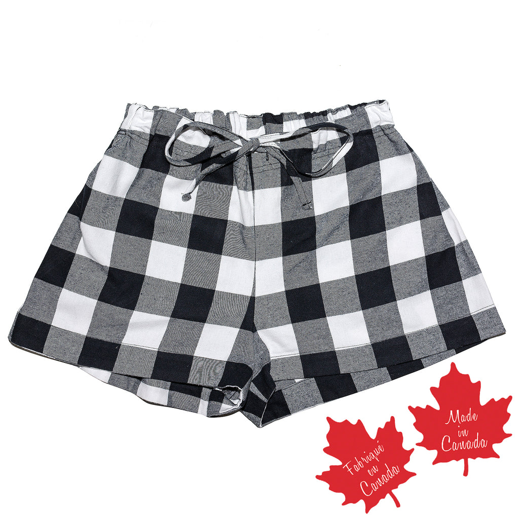 Shorts in Black White Large Buffalo Check