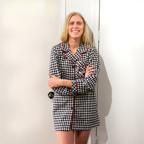 Classic Nightshirt in Small Black Check with Loon