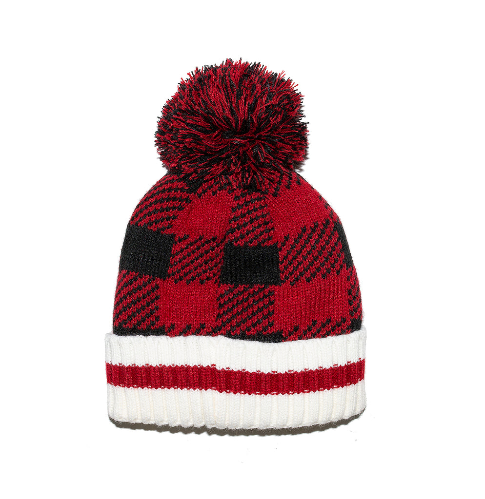 Kids Buffalo Check Toque with Pompom