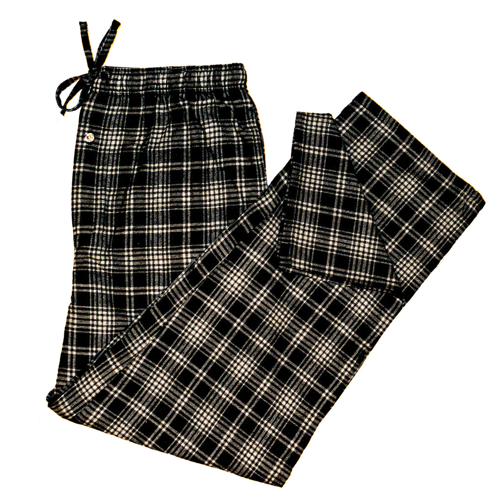 Men's Flannel Lounge Pant / Black and Grey Plaid