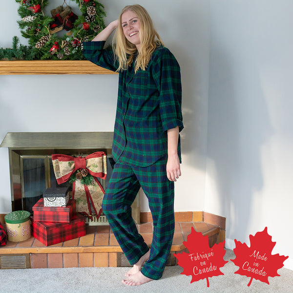 Easy Fit 2 Pc. Flannel Pyjamas in Black Watch