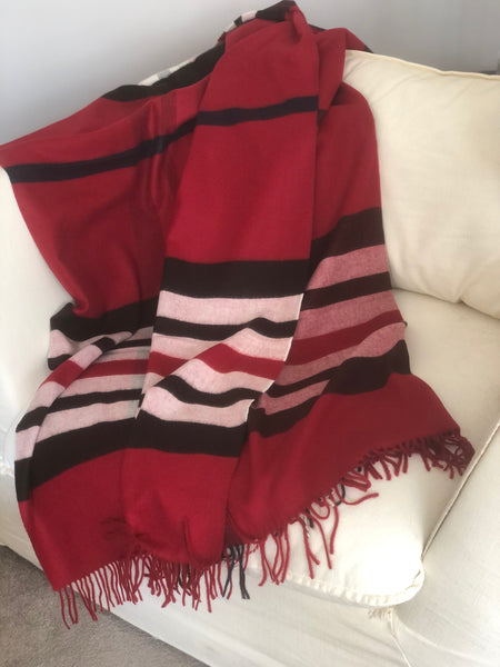 Blanket Throw in Red and Caramel