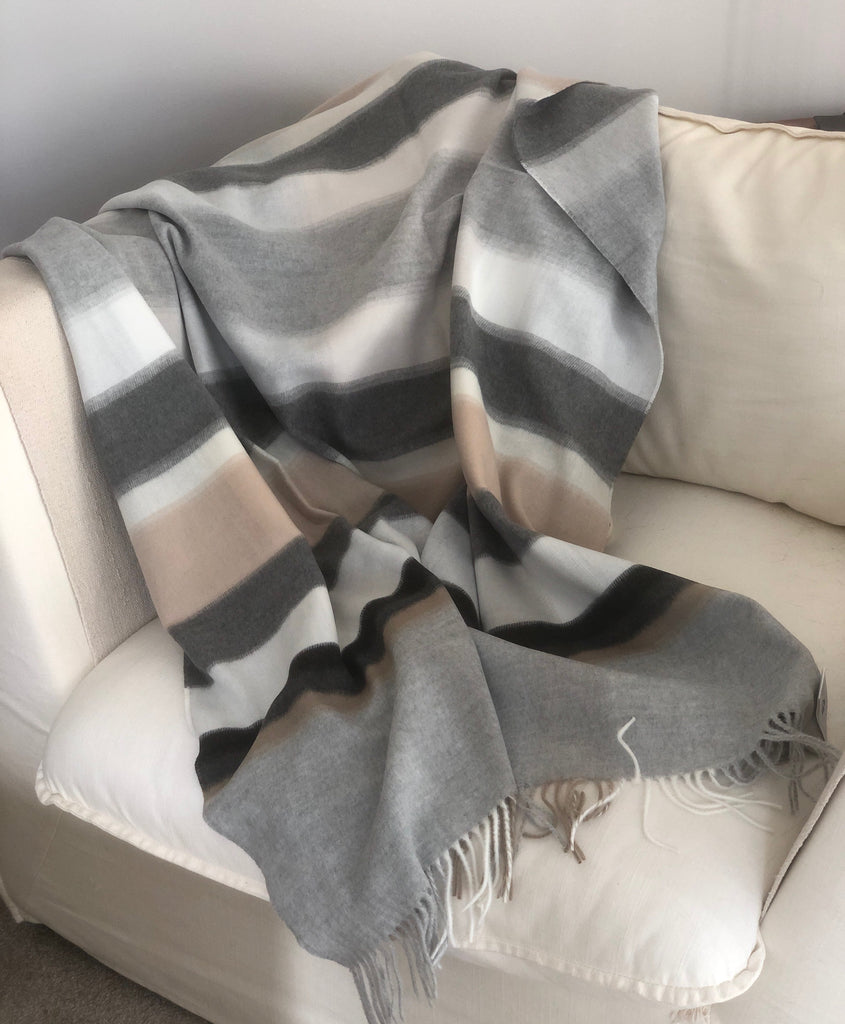 Blanket Throw in Muted Grey and Caramel