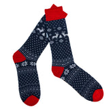 Merino Wool Socks in a Nordic Jacquard Design in Navy