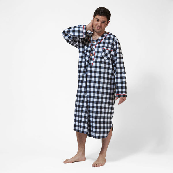 Men's Flannel Nightshirt with Bear Logo in Large Buffalo Check Front view